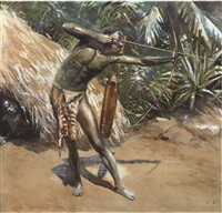 a pygmee hunting by leon eugene august abry