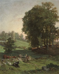 minding the herd at dusk by jules (joseph augustin) laurens