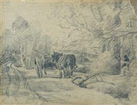 heavy horse at rest beside a plough by john constable
