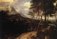 gebirgslandschaft mit reitern und wanderern by francisque (joseph f.) millet