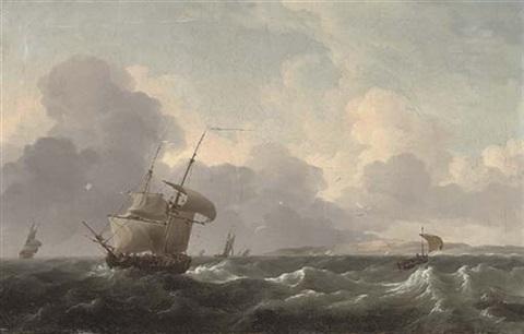 a dutch merchant brig shortening sail off the coast ahead of the approaching squall by ludolf backhuysen the elder