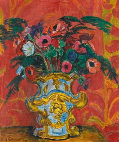 anemonen und farn in barockvase anemones and fern in a baroque vase by hans purrmann
