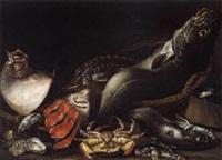 stilleven met vissen, krab, oesters en mosselen by isaac van duynen