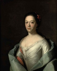 portrait of a lady in a white and red dress and a blue wrap by bernardus i accama