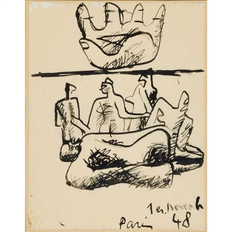 upturned hand and figures by le corbusier