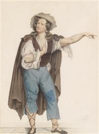 bildnis des burgschauspielers baumeister in der rolle des rattenfängers von hameln by josef kriehuber
