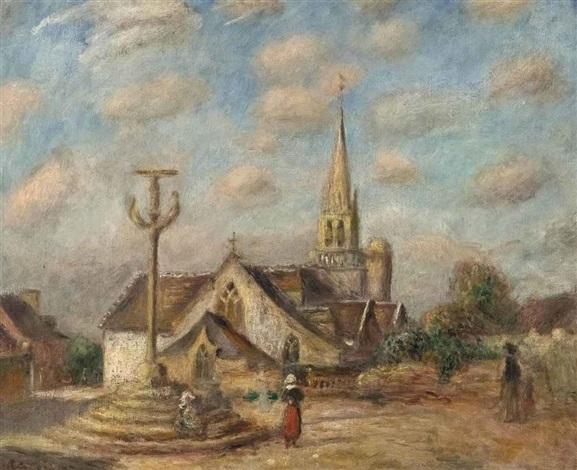 calvaire et église de nizon près de pont aven by pierre auguste renoir