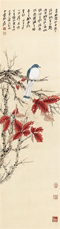 红叶小鸟 by zhang daqian