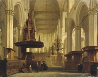 the pulpit in the nave of the nieuwe kerk, amsterdam by jan jacob schenkel