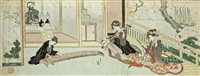 in einem zimmer mit einem altar mit neujahrsopfern spielt ein junger mann auf einer koto (surimono) by hokutai