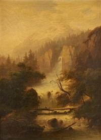 la traversée du pont sur fond de cascade by gartner