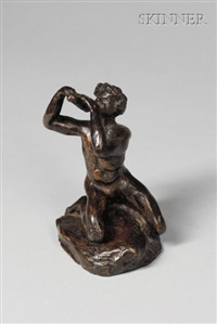 kneeling figure playing flutes by nanna (mathews) bryant