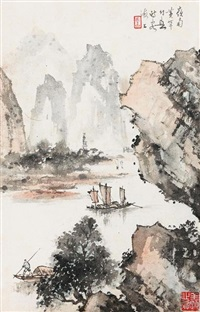 boating in the river by huang huanwu