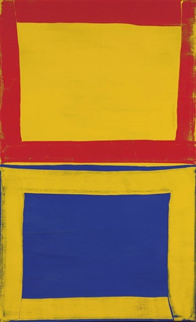 first three for two red yellow blue by mary heilmann