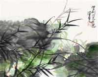 翠竹 兰花 镜框 设色纸本 by chen peiqiu