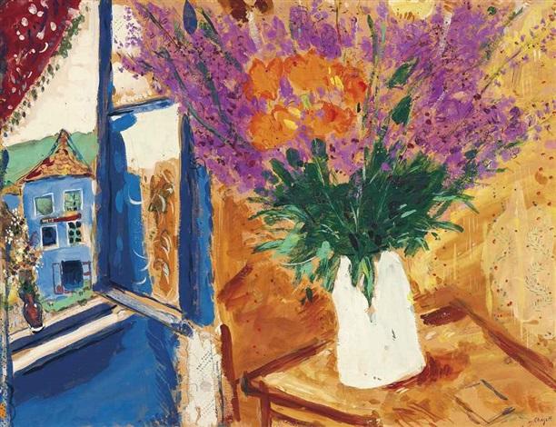 fleurs près de la fenêtre by marc chagall