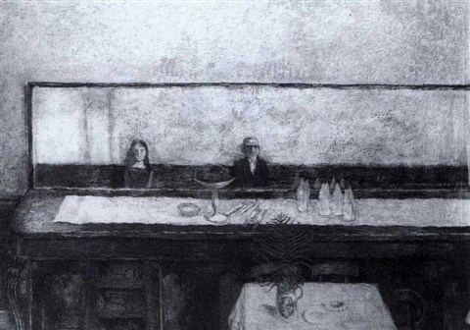 self portrait in a cafe by edward bishop