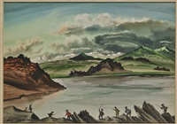 landscape with figures wielding swords by adolph denh