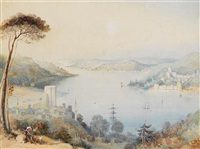 the castles of anadolu hisari and rumeli hisari on the bosphorus by thomas allom