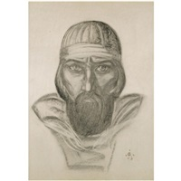 portrait of a russian warrior by svetoslav nikolaevich roerich