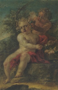 putti adorning themselves with flowers by luis alcázar y paret