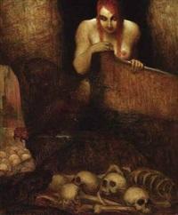 surrealistische komposition mit einem weiblichen halbakt und einem feld mit totenköpfen by adolf frey-moock