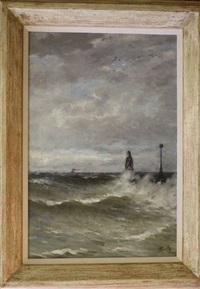 golven bij een havenhoofd by corstiaan willem smith