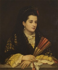 portrait of a lady with fan by attilio baccani