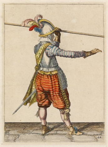 ein soldat hebt die pike in seiner linken hand 3 others 4 works from wapenhandelinghe van roers musquetten ende spiessen  by jacques de gheyn ii