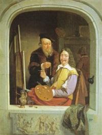 in het atelier van de schilder by jacobus ludovicus godinau