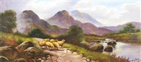 highland scenes with cattle and sheep by w.g. becker