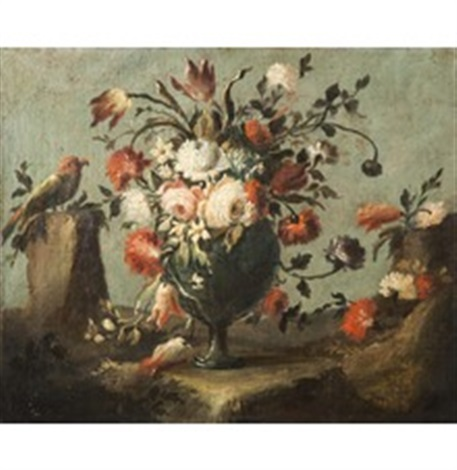 vaso di fiori con pappagallo by francesco guardi