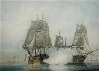 a british two decker warship in combat with a french vessel by samuel atkins