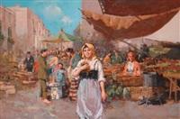 scena di mercato con personaggi by vincenzo d' auria