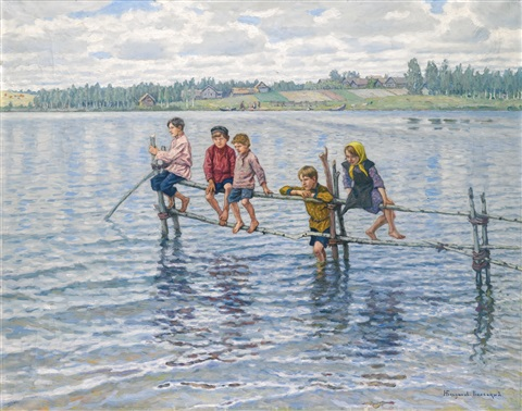 children at a lake in lettgallia by nikolai petrovich bogdanov belsky