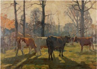 cattle in sunlit woodland by charles walter simpson