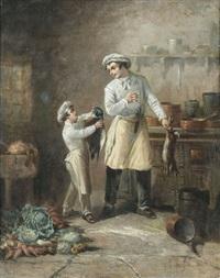 genreszene mit koch und küchenjunge by léonard saurfelt