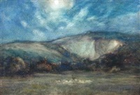 sussex chalkpit at new moon (+ sussex chalkpit at full moon; 2 works) by james aumonier