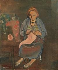 femme au tricot by georges (karpeles) kars