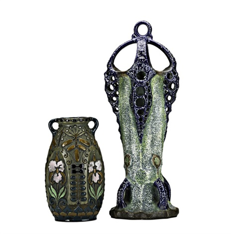 tall organic form vase with handles and reticulated buttresses and ovoid vase with violets in jewel tone enamels 2 works by amphora werke reissner