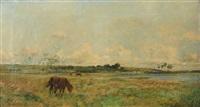 cheval au paturage à longprès by edmond charles joseph yon