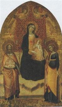 madonna con bambino in trono con san giovanni battista, santa caterina d'alessandria e due angeli by lippo d'andrea (ambrogio di baldese)