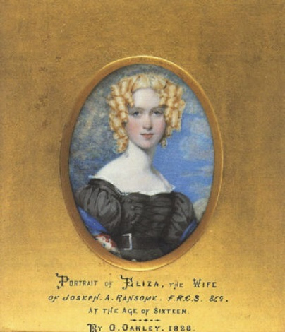 eliza wife of joseph a ransome wearing lace trimmed black dress with buckled belt and embroidered shawl her hair in ringlets by octavius oakley