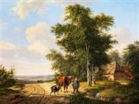 kleiner hirtenknabe mit kuh und einer ziege an einem wasserlauf by hendrik van de sande bakhuyzen