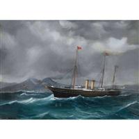 h.m. yacht victoria & albert entering naples 27th by antonio de simone
