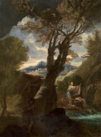 paesaggio con ruscello e lavandaia by italian school-genoa (18)