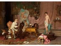 maler im atelier mit aktmodell by francesco beda