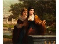 zwei junge mädchen an einer balustrade im park vor einem kanal mit enten by josef cornelius correns