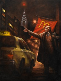 lenin hails a cab in new york (from the series monumental propaganda/lenin's tomb) by komar and melamid