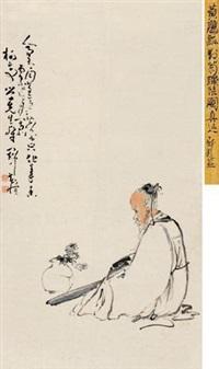 对菊弹琴 by huang shen